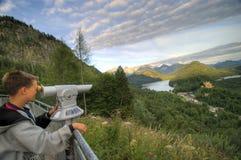 Boy admiring Bavarian land royalty free stock images