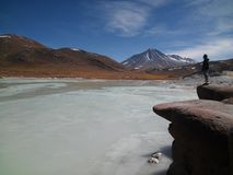 Boy admiring landscape in Atacama Desert, Chile stock images