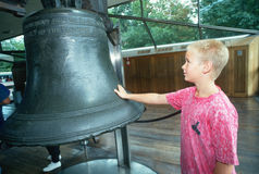 Boy admiring the Liberty Bell Stock Images