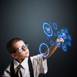 Boy in an adult business suit Stock Photos