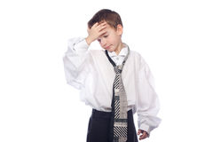 Boy in adult clothing. Stock Photos