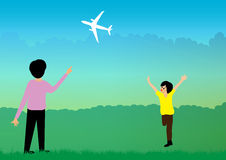 Boy with aeroplane. Father and son watching at the flying airplane vector illustration