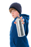 Boy with aerosol can Royalty Free Stock Image