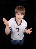 Boy Against Drugs. This boy is asking 'why?'.  Why do drugs or anything that is bad for you.  Use him to take a stand against illegal substance abuse Stock Photo