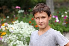 Boy against summer flower Royalty Free Stock Photography