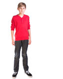 Boy against white background. Pre teen male caucasian boy against white background stock images