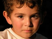 Boy age three. Three year old boy pensive royalty free stock image