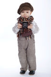 Boy with aged retro camera Stock Images