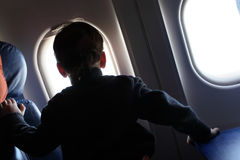 Boy in aircraft Royalty Free Stock Images