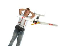 Boy with an airplane Royalty Free Stock Photos