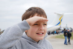 Boy and airplane Stock Photography
