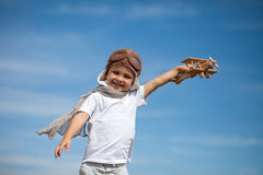 Boy with airplane on air fest Stock Image