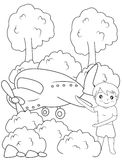 Boy and airplane coloring page. Useful as coloring book for kids Royalty Free Stock Photography