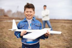 Boy with airplane Royalty Free Stock Photo