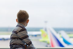 Boy at the airport Stock Photo