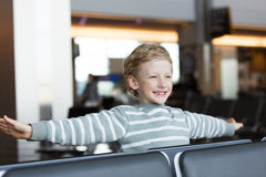 Boy at airport Royalty Free Stock Photography