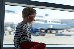 Boy at the airport Royalty Free Stock Images