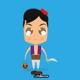 Boy With Aladdin Halloween Costume Isolated Stock Image