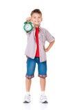 Boy with alarm clock Stock Photo