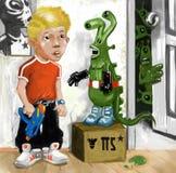 Boy and aliens Stock Photos