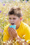 Boy with allergic rhinitis in  meadow Royalty Free Stock Photos