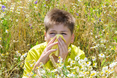 Boy with allergic rhinitis in  meadow Royalty Free Stock Photo
