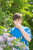 Boy with allergic rhinitis near blossoming lilac Stock Photos
