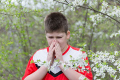 Boy with allergic rhinitis in  spring garden Royalty Free Stock Photo