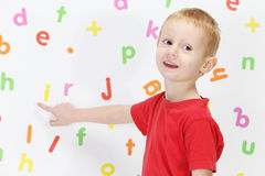 Boy and alphabet Royalty Free Stock Photo