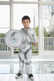Boy In Aluminum Foil Knight Costume Royalty Free Stock Photo