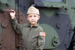 Boy in American army uniform Stock Photography