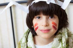 Boy in a American Indian image Royalty Free Stock Photography