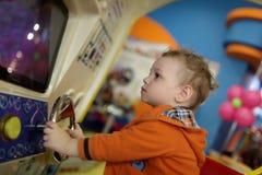 Boy and amusement car Royalty Free Stock Image