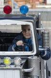 Boy in amusement park children train Royalty Free Stock Photo
