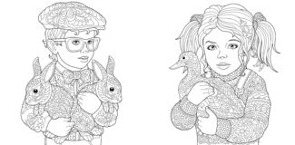 Free Boy And Girl. Coloring Pages. Coloring Book For Adults. Colouring Pictures With Kids And Farm Animals Drawn In Zentangle Style. Stock Image - 131671781