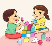 Boy And Girl Happy To Playing With Building Colorful Block Vector Illustration Royalty Free Stock Photography
