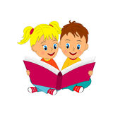 Boy And Girl Sit And Read Book Royalty Free Stock Photo