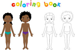 Boy And Girl Unclothed. Educational Coloring Book For Kids Royalty Free Stock Images
