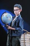 Boy And Globe Stock Photo