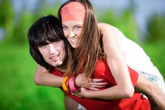 Boy And Long-haired Girl Stock Photo