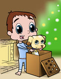 Boy And Puppy Christmas Present Royalty Free Stock Photos