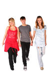 Boy And Two Girls Steps Forward Royalty Free Stock Images