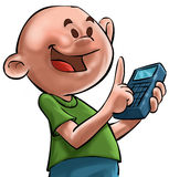 The boy ande the calculator. A young and bald boy witha a calculator in his hand royalty free illustration
