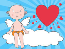 Boy angel on a cloud. Boy angels on a cloud with a heart Stock Photography