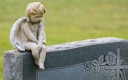Boy angel on headstone. Little boy angel perched on a headstone w/ blur background Royalty Free Stock Photos