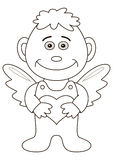 Boy-angel with heart, contours Stock Image