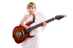 A boy angel plays the electric guitar Stock Image