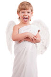 Boy angel shows language Royalty Free Stock Image