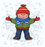 Boy angel. In the snow vector illustration Stock Photos