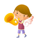 Boy with angel wings. And holding trumpet Royalty Free Stock Photography